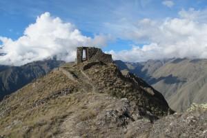 Inca ruin of Inti Punku, near Machu Picchu and Ollantaytambo in Peru